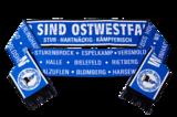Blauer Schal mit weißer Aufschrift: Wir sind Ostwestfalen