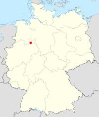 Deutschlandkarte mit Kennzeichnung Stadt Enger
